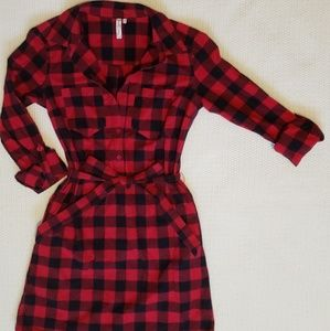Black and Red Flannel Dress